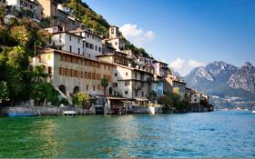 Обои пейзаж, горы, озеро, берег, дома, лодки, Швейцария