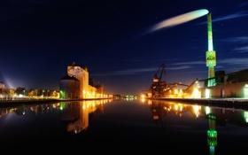 Картинка ночь, город, огни, труба, порт, док
