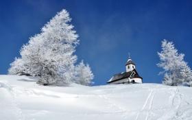 Картинка зима, снег, храм