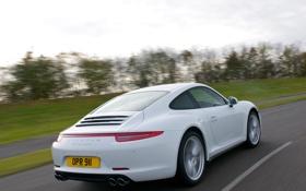 Обои дорога, машина, 911, Porsche, Carrera 4, вид сзади, Coupe