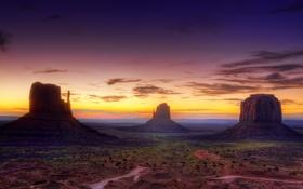 Обои облака, рассвет, пустыня, сша, юта, долина монументов, песчаник