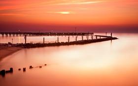 Обои океан, рассвет, пирс, Maryland, North Beach