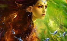Картинка глаза, девушка, рыбы, лицо, красочно