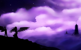 Обои небо, девушка, звезды, облака, фантастика, волосы, крылья