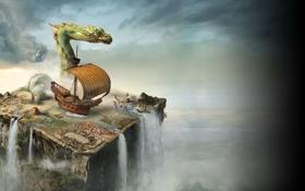 Обои карта, путишествие, фентези, корабль, дракон