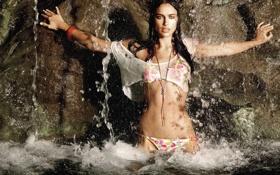 Картинка купальник, вода, брызги, модель, водопад, брюнетка, Irina Sheik