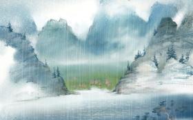 Обои горы, река, дождь, арт, нарисованный пейзаж