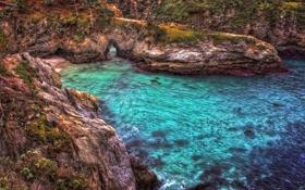 Обои море, скалы, бухта, залив, арка, USA, California