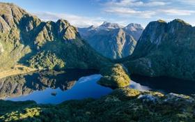 Обои лес, панорама, природа, горы, вид, озера