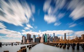 Обои небо, облака, дома, нью-йорк, сша, манхэттен