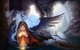 Обои цветок, вода, девушка, магия, крылья, дух, арт
