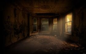 Обои лучи, окно, Комната, грязно