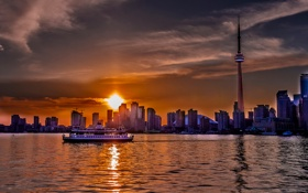 Обои озеро, корабль, дома, вечер, Канада, Онтарио, Торонто