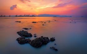Картинка закат, камни, небо, облака, море, порт, кран