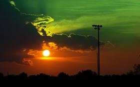 Обои небо, солнце, облака, деревья, закат, столб