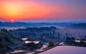 Обои закат, долина, небо, дорога, горы, озера