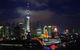 Обои река, стройка, ночь, Китай, China, огни, яхты
