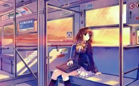 Обои девушка, поезд, форма, школьница, портфель, смотрит в окно