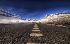 Обои дорога, пейзаж, асфальт, горы, снег, hdr