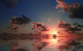 Обои закат, облака, отражение, небо, море