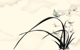 Обои трава, листья, цветы, ветер, бабочка, арт, акварель