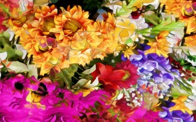 Обои линии, цветы, природа, рендеринг, краски, лепестки, сад