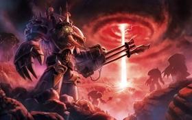 Обои металл, оружие, луч, войны, арт, warhammer 40k, воронка