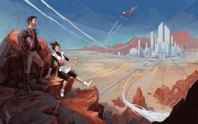 Картинка небо, горы, город, самолет, будущее, люди, фантастика
