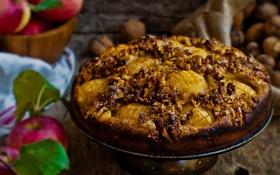 Обои яблоки, пирог, выпечка