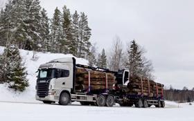 Обои Зима, Снег, Лес, Грузовик, Scania, Лесовоз, R730