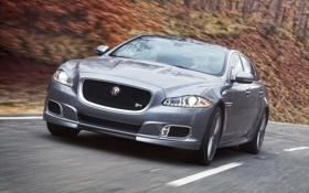 Картинка дорога, скорость, Jaguar, ягуар, автомобиль, передок, XJR