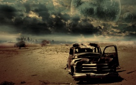 Обои машина, небо, цвета, пустыня, горизонт, ржавчина, картинка