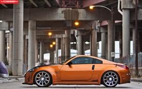 Обои оранжевый, мост, тюнинг, Nissan, ниссан, 350Z, orange