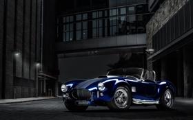 Обои ночь, здание, Roadster, Shelby, кобра, родстер, синяя