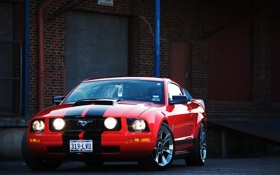 Обои красный, Mustang, Ford, мустанг, red, мускул кар, форд
