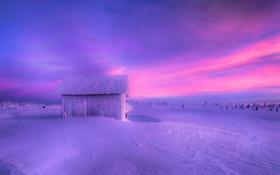Обои зима, снег, сарай, домик, мороз