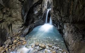 Картинка камни, скалы, поток, водопад, ручей, каньон, ущелье