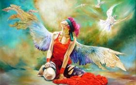 Обои крылья, девушка, Wlodzimierz Kuklinski, ангел