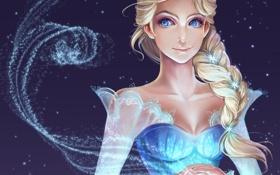 Картинка холод, девушка, фон, арт, коса, снежинка, frozen