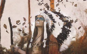 Картинка взгляд, листья, девушка, лицо, фон, перья, головной убор