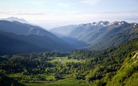 Картинка долина, лето, восход, лучи солнца, россия, горы, Адыгея