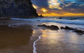 Обои песок, пейзаж, пляж, закат, тропический, океан, природа