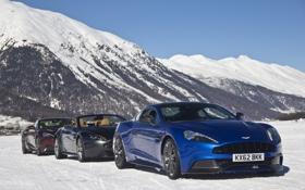 Обои Aston Martin, Roadster, Vantage, supercar, V12, snow, Vanquish