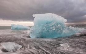 Картинка лёд, берег, льдины, лед, холод, море