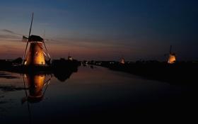 Обои небо, ночь, канал, ветряная мельница