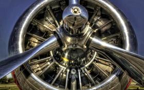 Картинка макро, металл, самолет, hdr, пропеллер