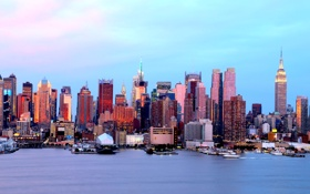 Обои небо, небоскреб, дома, Нью-Йорк, панорама, США, Манхэттен