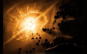 Обои обломки, свет, взрыв, астероиды