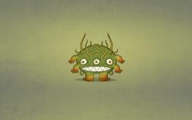 Обои зеленый, монстр, минимализм, monster, три глаза, зубастый, трехглазый