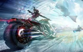 Картинка девушка, корабль, скорость, арт, мотоцикл, Allods, online